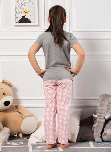 Elitol Pamuklu Likralı Kız Çocuk Pijama Takım Gri